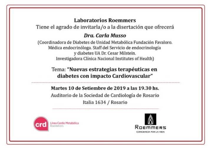 Nuevas estrategias terapéuticas en Diabetes con impacto Cardiovascular. Auspicia Roemmers. @ Sociedad de Cardiología de Rosario | Rosario | Santa Fe | Argentina